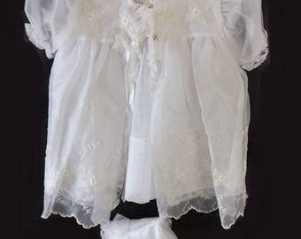 Baby Girl Christening Dress Set, Vintage 4 Pc White Baptismal Outfit, Eyelet Flowers, Lace Slip, Dress, Jacket and Bonnet, Childs Cloth