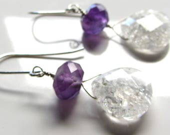 Big Dark amethyst and rock crystal tear drop earrings, purple and white gemstones sterling silver 925, natural gems earrings