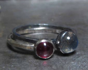 Red Garnet and Grey Labradorite Stacking Ring in sterling silver, small handmade rings, black silver, oxidised silver rings with gemstones
