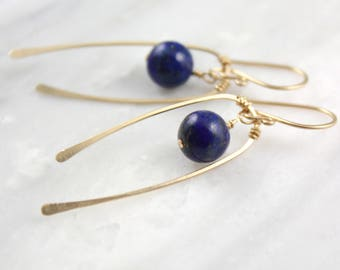 Lapis and Forged Gold Mobile Earrings