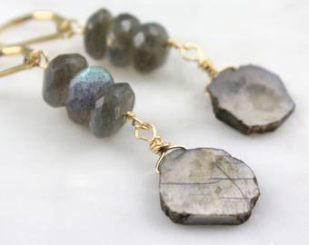 Labradorite and Gray Moonstone Slices Gold Dangle Earrings