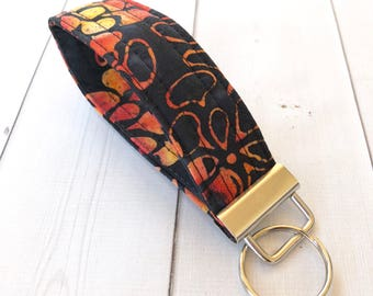 Black Floral Wrist Strap Keychain Gift For Her Key Fob Coworker Gifts Wrist Lanyard Gift For Women Key Holder Stocking Stuffer