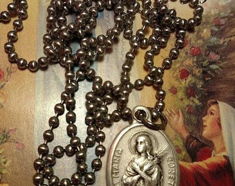 Flash Sale Saint St Maria Goretti Silver Italy Religious Medal Necklace Long Steel Chain