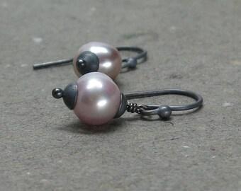 Pink Pearl Earrings Petite Minimalist Oxidized Sterling Silver June Birthstone Earrings