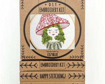 MUSHROOM GIRL embroidery kit - embroidery hoop art, girl with moss hair, mushroom hat, forest girl, hand embroidery pattern, DIY gift kit