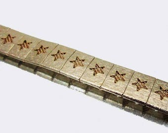 Vintage Star Bracelet Gold Tone Bracelet Mesh Bracelet Unused Bracelet