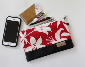 Leather Zipper Clutch, ipad device padded sleeve, metal zip pouch, Diaper holder, makeup organizer Red white floral, first aid kit, new mom