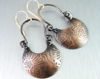 Etched Copper Earrings - Copper Horseshoe Earrings -  Flower Pattern
