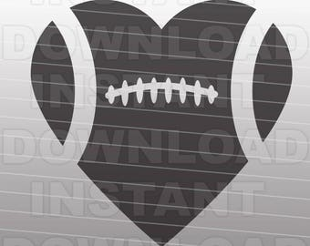 Football Heart SVG File Cutting Template-Clip Art for Commercial and Personal Use - vector art file for Cricut, SCAL, Cameo, Sizzix, Pazzles