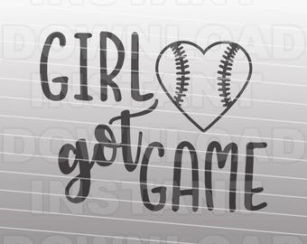 Girl Got Game Fast Pitch Softball SVG File,Softball Heart svg,Vector Art for Silhouette Cameo Cricut Cutter,For Commercial & Personal Use