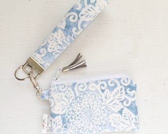Keychain Pouch // Blue and White Floral