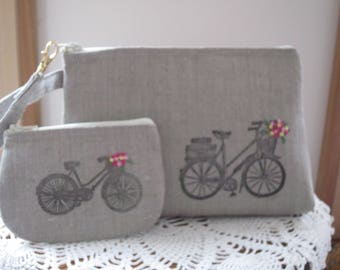Antiquebasketlady, Handstamped Linen Wristlet,  Bicycle Clutch Purse, Zipper Gadget Pouch, Retro Bicycle, Hand Embroidered, Made in USA