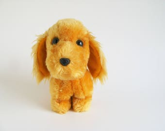 Vintage Dakin Dog Stuffed Animal 1970s Toy Golden Retriever Cocker Spaniel Puppy Plush