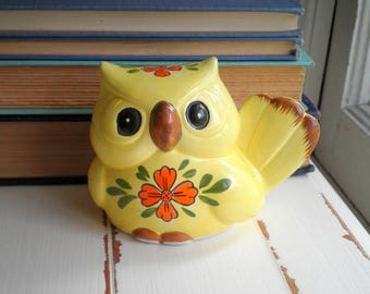 Vintage Woodland Owl Ceramic Piggy Bank - Retro Yellow Owl & Orange Folk Art Flowers Kitschy Animal Home Decor - New House / Holiday Gift