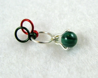 Malachite Gemstone Increase Decrease Knitting Stitch Marker - Size US 5 - Item No. 1012