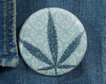 Blue Glitter Pressed Cannabis Leaf Button