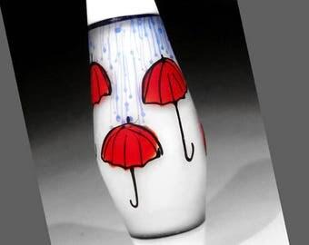 Red Umbrellas in the Rain on White, Illustration in Glass, handmade lampwork glass bead focal by JC Herrell