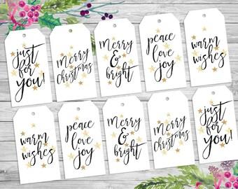 Printable, Calligraphy, Christmas, gift tags, hand lettered, modern, minimal, Christmas Xmas, holiday tags, Printable tags, digital download