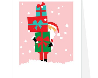Holiday Cards Santa with stack of presents set of 4 Note Cards pale pink