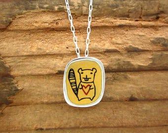 Beaver Necklace - Sterling Silver and Vitreous Enamel Beaver Pendant