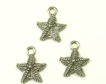 20% Off Sale 10mm Antique Silver Small Star Fish Charms- Lead - Free - 2 Pieces - 1053