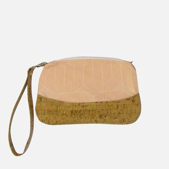 Peach lines  Handmade Clutch crossbody purse