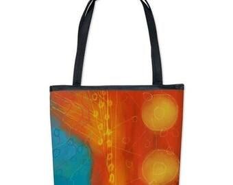 Funky Abstract Art Handbag Purse Shoulder Bag My Colorful Abstract Digital Painting