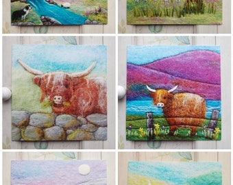 Set of Six Square Printed Greetings Cards Blank Scottish Animals