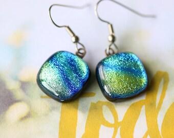 Green Blue Dichroic Fused Glass Earring, Drop Earrings, Dangle Earrings, E0158, GetGlassy