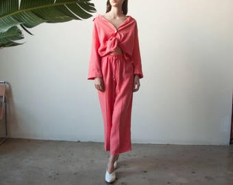 peach pink three piece crop top pants set / woven linen cropped matching set / s / m / 2701t