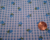 QUARTER YARD vintage Blue GINGHAM fabric tiny flowers perfect for tiny doll dress sewing quilting crafting