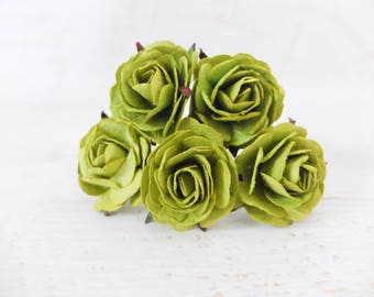 5 35mm green mulberry paper roses (Style 1)