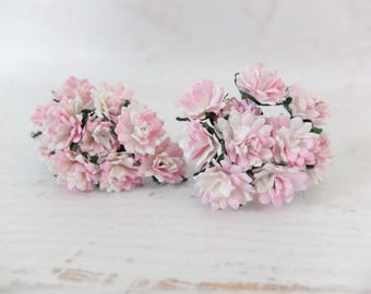20 15mm white pink mulberry flowers