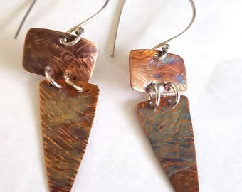 Textured Iridized Copper Triangle Drop Earrings