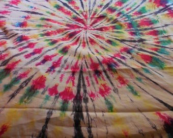 "Vintage Fabric Cotton Medium Weight Canvas Tie Dye Tablecloth or Drapery 64"" x 50""  Hippie Boho"