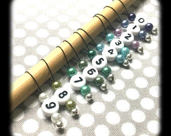 Snag Free Stitch Markers - Medium Set of 10 - Blue Green Purple With Numbers - M56 - Fits up to Size US 11 (8mm) Knitting Needles