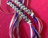 CUSTOM ORDER Braided Ribbon Barrette in Dodger Blue / White / Silver