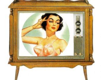 Unusual Wall Art, Boob Tube, Retro TV Artwork, Television Art, Original One of a Kind Art, OOAK Collage, Pinup Wall Art, Square Art,