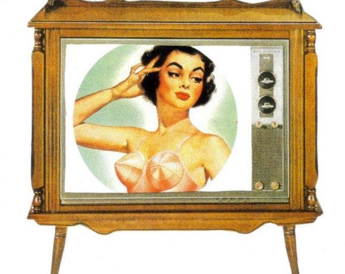 Retro TV Art, Boob Tube Television Artwork, Pinup Collage