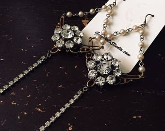 Rhinestone and Pearl Statement Earrings, Kite Earrings, Vintage Assemblage Earrings