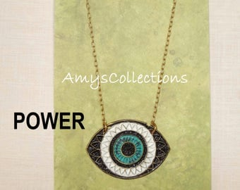 MANDALA (POWER) EYE, Hand-painted, Delicate Solid Brass Chain Necklace (Black)
