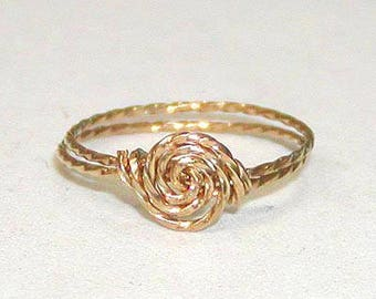 Twist Wire Ring - Wire Ring - 14kt Gold Filled Ring - ON SALE Delicate Swirled Rosette Gold Wire Ring - Thumb Ring - Affordable Ring