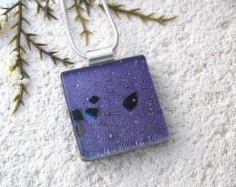 Black Purple Necklace, Dichroic Glass Necklace, Fused Glass Jewelry, Dichroic Jewelry,Glass Jewelry,ccvalenzo, OOAK Necklace, 092817p105