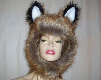 Red Fox Fur Hat with Ears Furry Geek Costume Wig Adult Hat Fox Hood Hat Mardi Gras Halloween Ears Fur Hood Foxy OOAK Hat Real Like Fox Fur