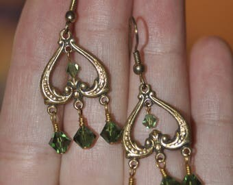 Gold Tone Heart Chandlier Earrings with Green Swarovski Dangles