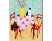 ORIGINAL 3 cats dining table painting original cat painting black cat orange and spotted cat naive folk art painting by Tascha