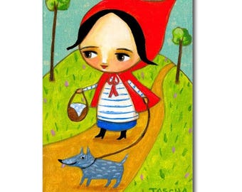 Little Red Riding Hood walking Wolf dog cute original folk art painting by artist Tascha