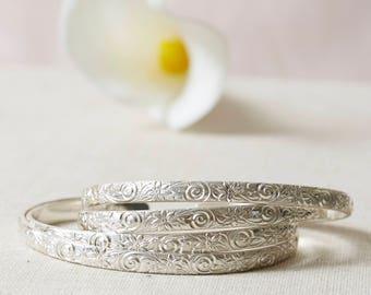 Silver Cuff Bracelet (1), Silver Bangle Bracelet,  Patterned Bangle, Stacking Bracelet, Flowered Cuff Bracelet, Boho Bracelet