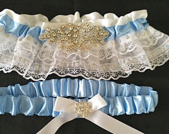 The Caerulea Blue Satin & White Lace Rhinestone Garter Set•Wedding Garter•Heirloom Garter•Something Blue•Blue Garter Set•Crystal Garter Set