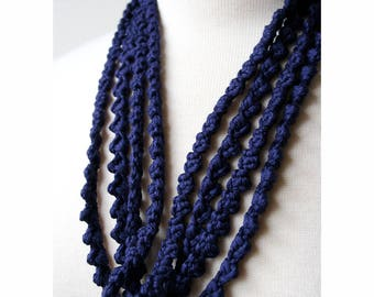 Multi Strand 100% Silk Textile Necklace in Navy Blue, Fiber Art Jewelry, Statement Necklace, Natural, Unusual, Boho, Elegant, Unique